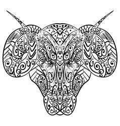 Zentangle stylized ram head vector image vector image