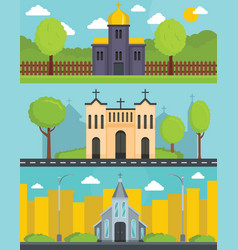 church building banner concept set flat style vector image