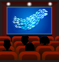 cinema screen with audience cinema hall people vector image