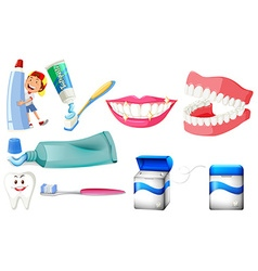 Dental set with boy and clean teeth vector image vector image