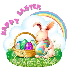 Easter bunny and colorful in the basket vector image