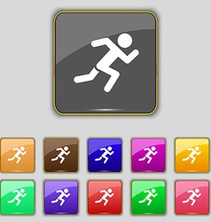 simple running human icon sign Set with eleven vector image vector image