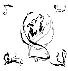 tattoostyle wolf and feather for salons and prints vector image