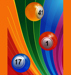 3d bingo balls over multicoloured background vector