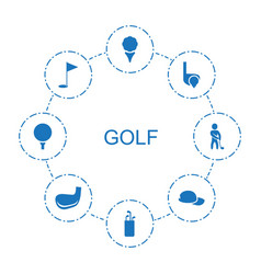 8 golf icons vector