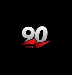 90 years anniversary celebration white black red vector