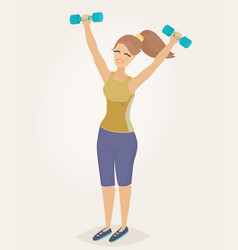 a woman doing morning exercises vector image vector image