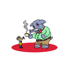 an elephant dressed with a shirt having a coffee vector image