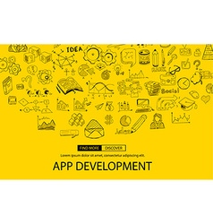 App Development Concept Background with Doodle vector image