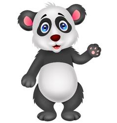 Baby panda cartoon waving hand vector image