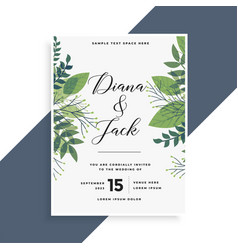 Beautiful green leaves wedding invitation card vector