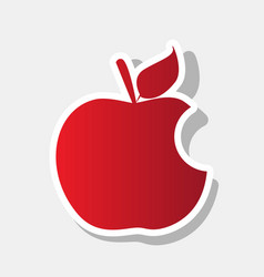bite apple sign new year reddish icon vector image