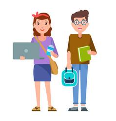 boy notebook pen and girl coffee school children vector image