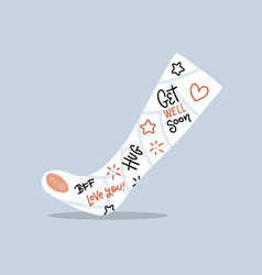 Broken leg cast with positive writings from vector