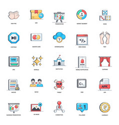 Business presentation flat icons pack vector