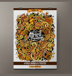 cartoon colorful hand drawn doodles africa poster vector image
