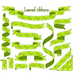 Cartoon stripped ribbons with leaves vector image