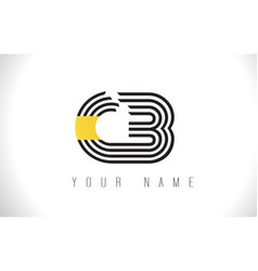Cb black lines letter logo creative line letters vector