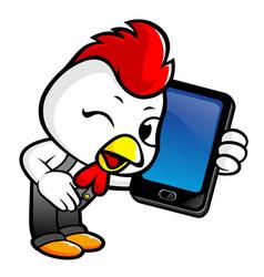 Chicken character has smart phone conversation vector