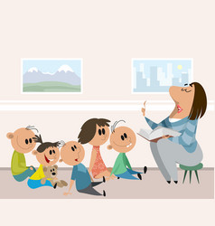 Children and caregiver in kindergarten vector