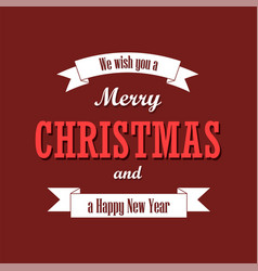 christmas text white ribbon merry christmas and vector image