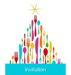 Christmas Tree Cutlery Pattern vector