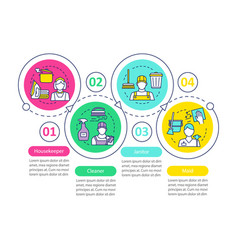 Cleaning agency staff infographic template vector