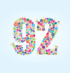 Colorful floral 92 number design isolated on vector