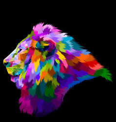 Colorful lions head looked from the side looking vector