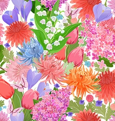 colorful seamless texture with spring flowers and vector image