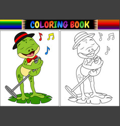 coloring book cartoon frog singing vector image