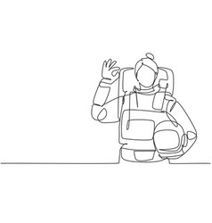 Continuous one line drawing female astronaut vector