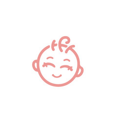 Cute baby face with curly hair logo vector