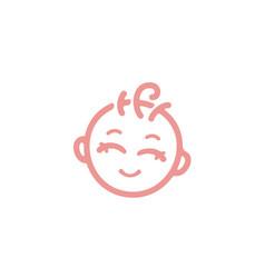 cute baface with curly hair logo vector image