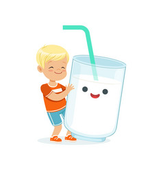 Cute blonde little boy and funny milk glass with vector