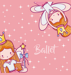 Cute girls ballet dancers vector