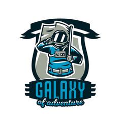 Emblem logo an astronaut salutes and holds a vector