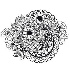 entangle doodle floral ornament vector image