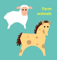 Farm animals sheep and horse vector