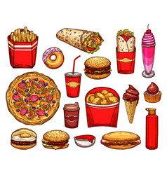 fast food lunch with sandwich drink and dessert vector image