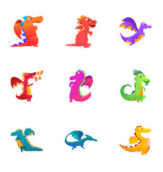 Funny dragons icon set cartoon style vector