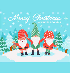 gnomes christmas characters xmas greeting card vector image