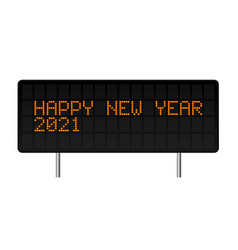 happy new year 2021 led digital alphabet style vector image