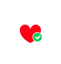 heart and green tick checkmark icon vector image