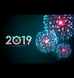 holiday festival blue firework happy new year vector image
