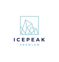 ice peak square mount geometric outline logo icon vector image