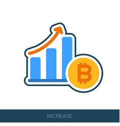 Increasing growth bitcoin icon vector