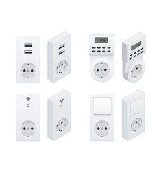 isometric switches and sockets set all types ac vector image