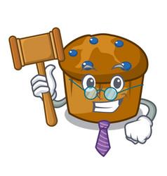 Judge mufin blueberry mascot cartoon vector