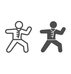 karate sportsman line and solid icon self defense vector image